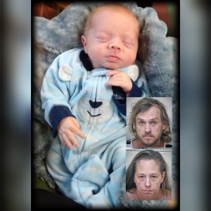 Baby Dylan Groves with the mug shots of his parents, Daniel and Jessica, inset
