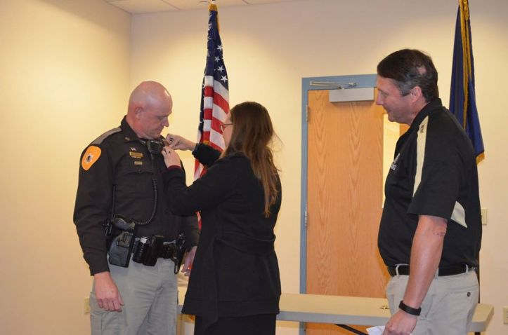 Detective Captain Don Peterson being sworn in as captain in October of 2017. (Galletin County Sheriff's Office)