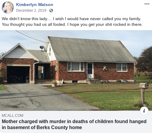 Kimberlyn Watson Facebook post about Lisa Snyder's murder arrest