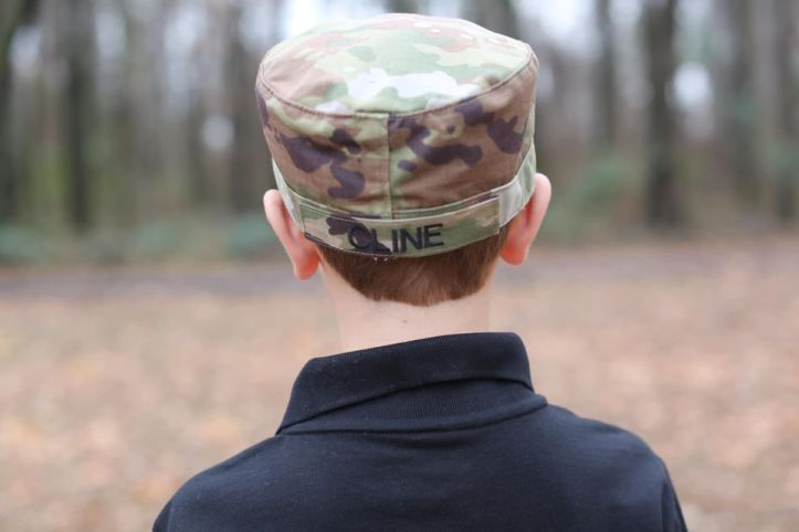 Logan Cline in military hat