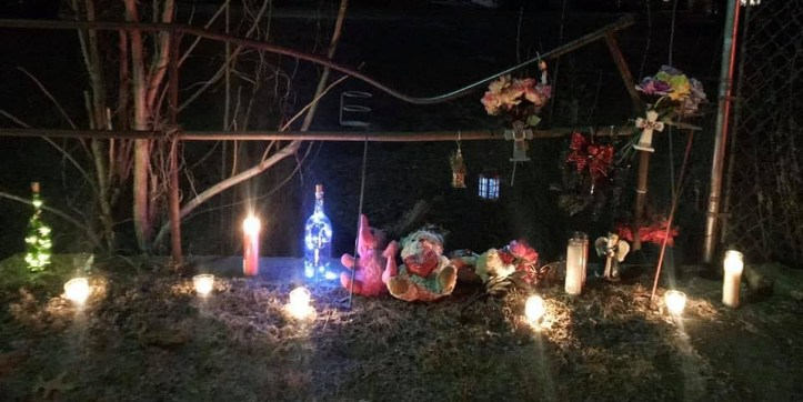Baby Sophia Grace Hadden memorial site at vacant lot