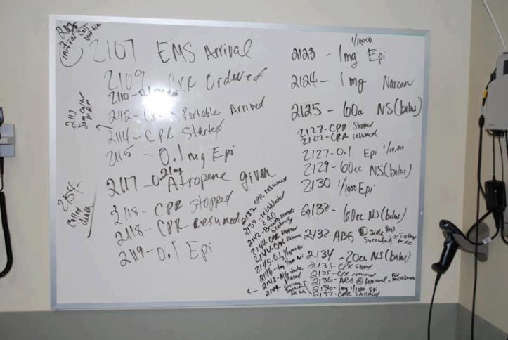 A whiteboard at the hospital indicating the various lifesaving measures attempted on Alissa Guernsey