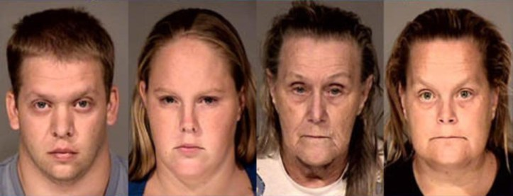 Mugshots for killers of Ame Deal: John Allen, Sammantha Allen, Judith Deal, and Cynthia Stoltzmann