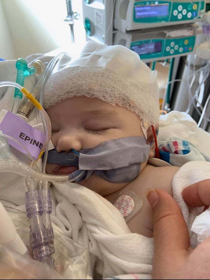 Remi Joan Cowan on ventilator in hospital