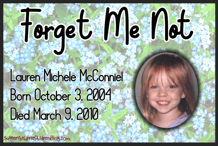 Forget Me Not: Lauren Michele McConniel on SufferTheLittleChildrenBlog.com