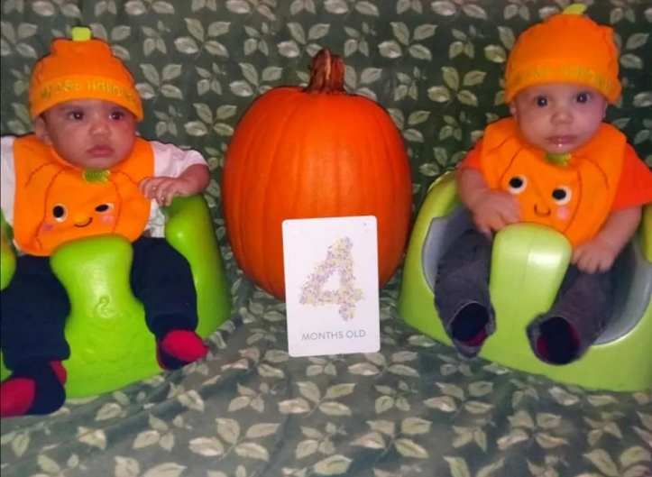 Zion and Zyaire Reed Halloween pumpkins