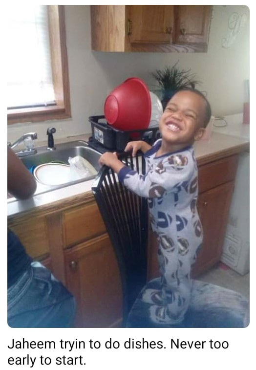 Jaheem Harris doing dishes