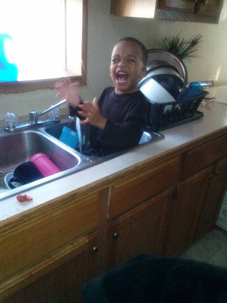 Jaheem Harris in kitchen sink
