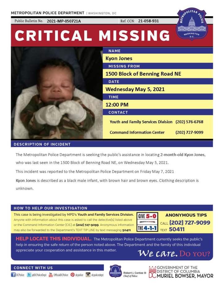 Kyon Jones missing poster - MPD