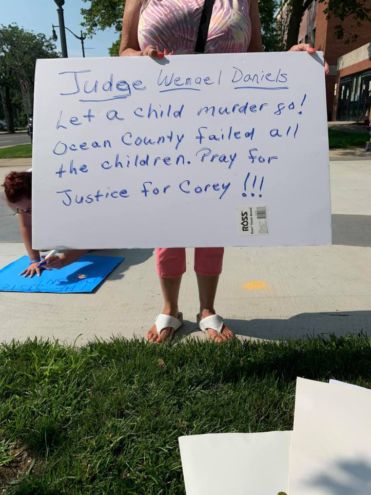 Protest sign Justice for Corey