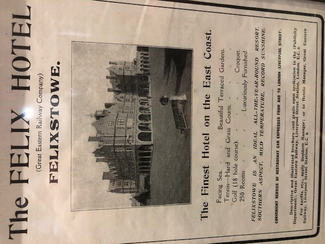 Original Poster 1903 at Palm Court Harvest House Felixstowe