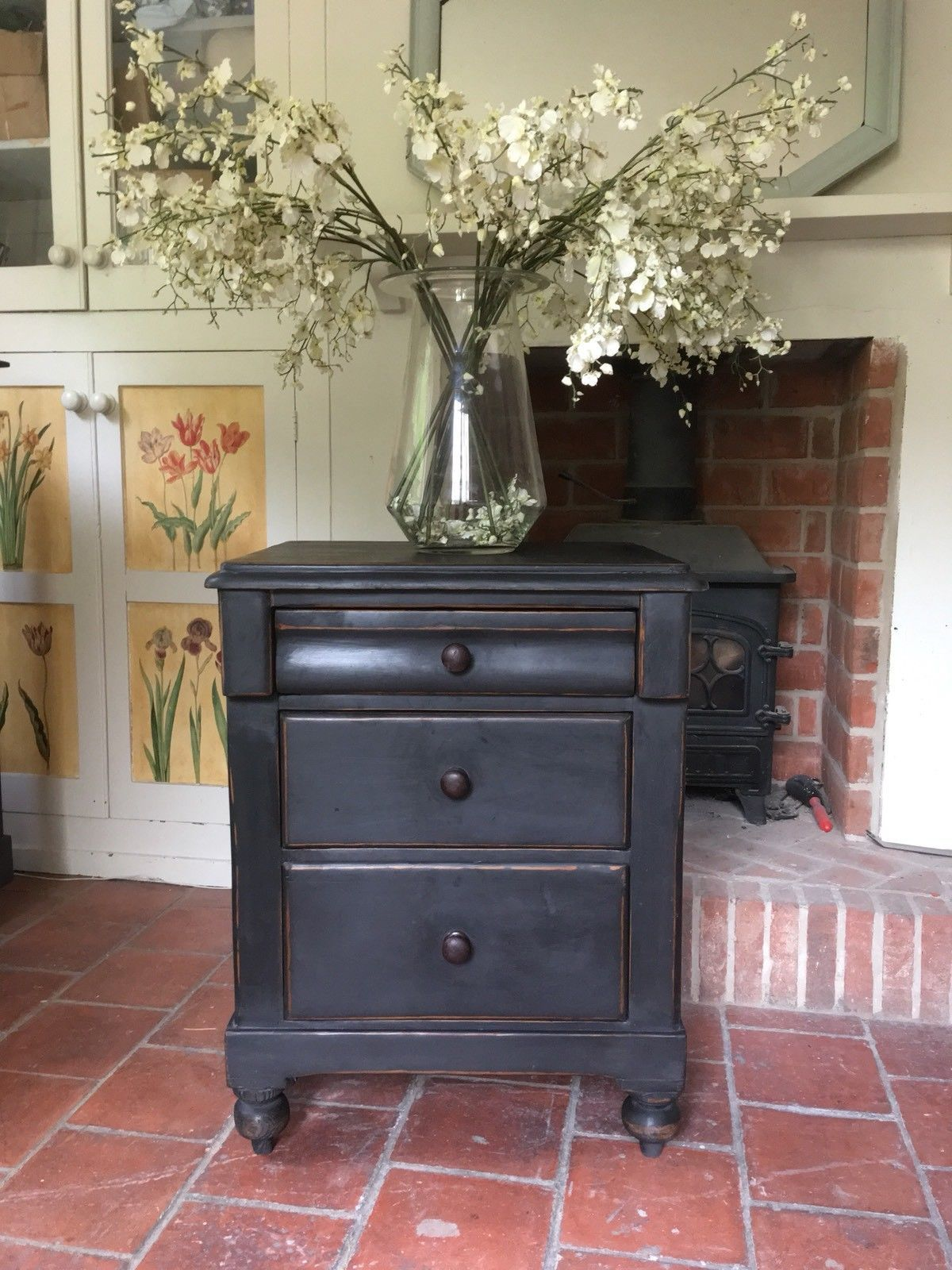 Antique Black Painted Victorian Chest Of Drawers