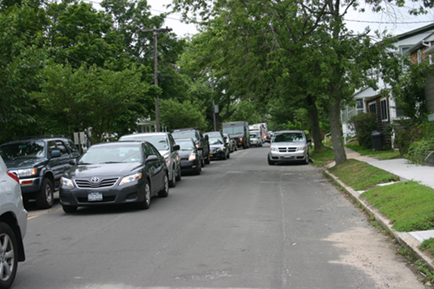 The North Ferry line stretching down Wiggins Street in Greenport in July 2013. (Ambrose Clancy photo, file)