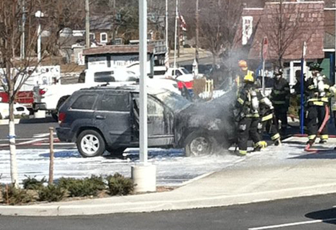 DARBY UHLINGER COURTEY PHOTO | A car fire in Mattituck Tuesday.