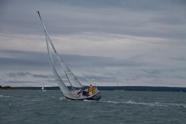 Silent Passage, a racing sailboat competing Saturday, the morning of the race. (Credit: Paul Squire)
