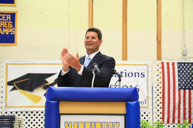 Principal Shawn Petretti gives the opening remarks. (Credit: Krysten Massa)