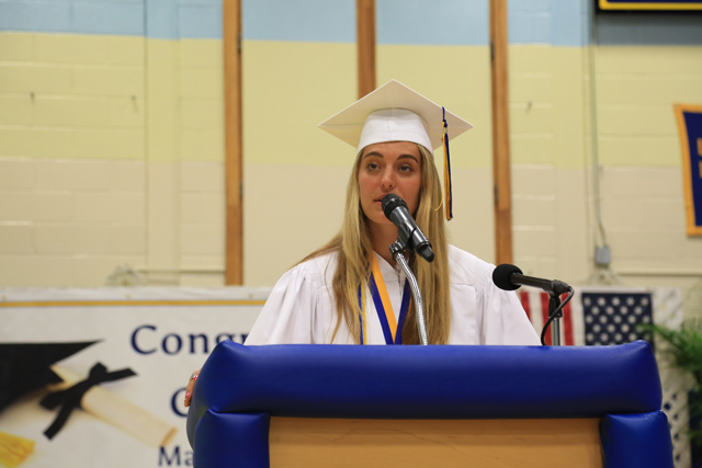 Valedictorian Katherine Hoeg gives her speech. (Credit: Krysten Massa)