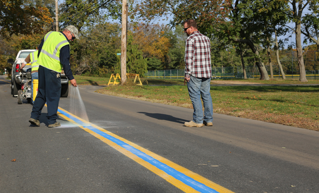 Blue stripe Peconic Lane Southold Town