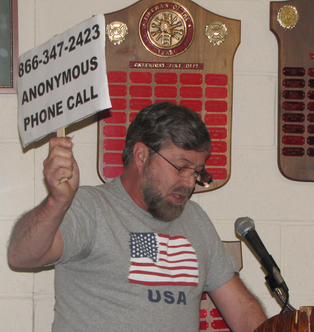 Bob Kehl of Greenport speaking at Thursday's meeting. (Credit: Tim Gannon)