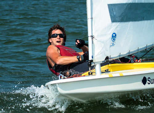 Bobby Boger, representing the United States Merchant Marine Academy, was the 2012 winner of the World's Longest Sunfish Race, Around Shelter Island, N.Y. (Credit: Bridget Walter, North Fork Memories, Southold, N.Y.)