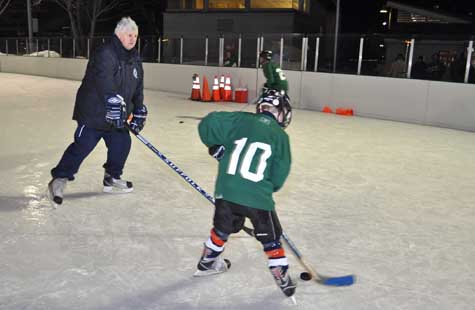 Suffolk Sports Hall of Fame member Buzz Deschamps, who offered tips and advice to the young members of the Greenport Pirates Hockey Club during a skills clinic Wednesday evening.