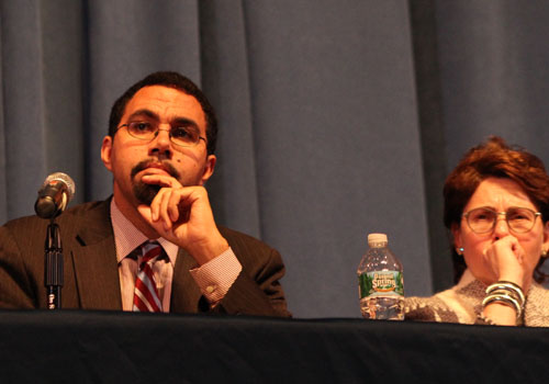 CARRIE MILLER PHOTO | Education commissioner John King and state Board of Regents Meryl Tisch listening to a parade of speakers at Tuesday night's forum.