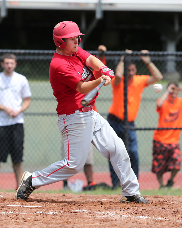 Alexander Poliwoda hit a solo home run in the first inning against Tuckahoe. (Credit: Daniel De Mato)