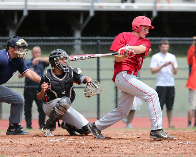 Dylan Clausen batting against Tuckahoe. (Credit: Daniel De Mato)