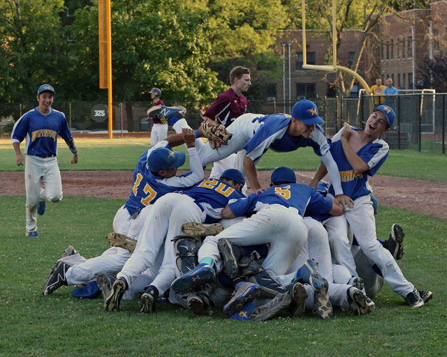 Mattituck celebrates after they defeated Albertus Magnus 9-5 in extra innings in the Class B Baseball South East Regional Championship game at  Mamaroneck High School in Mamaroneck. (Credit: Daniel De Mato)