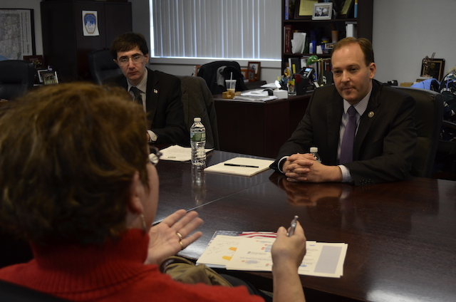 Congressman Lee Zeldin (R-Shirley) meets with constituents concerned about the environment.