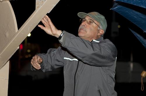 KATHARINE SCHROEDER FILE PHOTO   Greenport village administrator David Abatelli at a menorah lighting in Greenport last year.