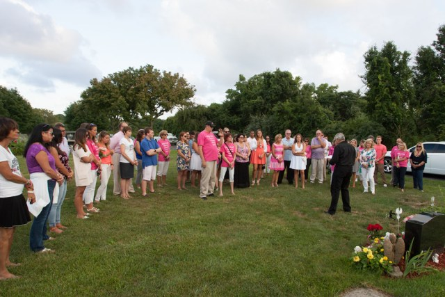 Many wore bright pink Kait's Angels shirts.