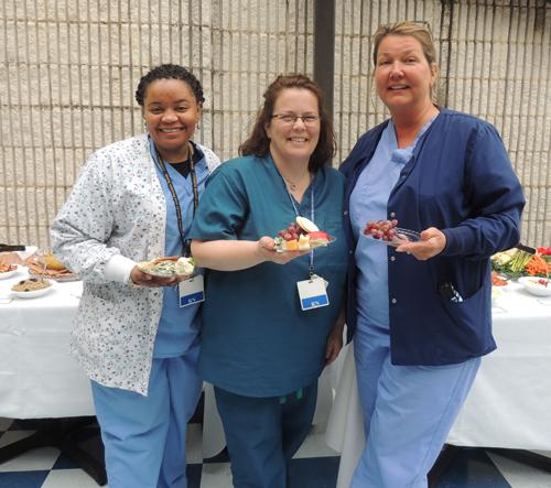 "COURTESY PHOTO | From left, ELIH nurses Caprice Grace, Jennifer Nemschick and Therese Gillan enjoy ""Tea Time"" during this year's National Nurses Week."