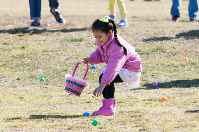 Kids were on the hunt for Easter eggs Saturday morning in Southold. (Credit: Katharine Schroeder)