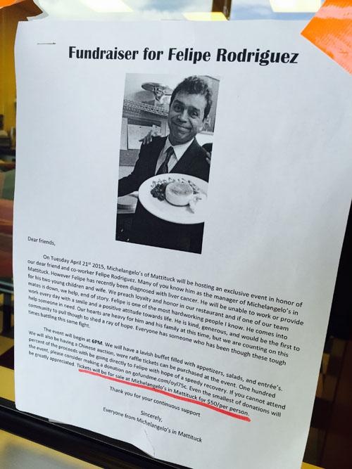 A fundraiser to benefit Michelangelo's Pizzeria manager Felipe Rodriguez, who was recently diagnosed with liver cancer, will be held Tuesday, April 21. (Credit: Rachel Young)
