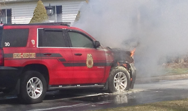 The vehicle caught fire while in the chief's driveway Saturday morning. (Credit: Joe Werkmeister)