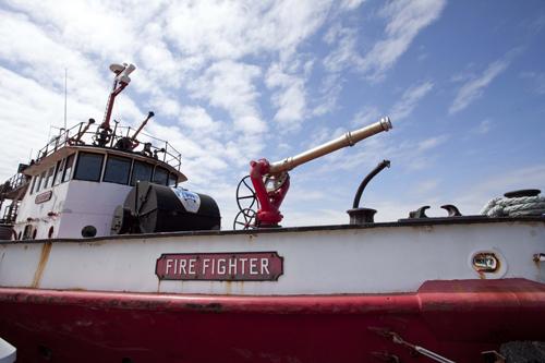 Fire Fighter docked in Greenport Village. (Credit: Katharine Schroeder)