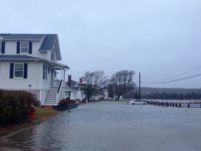 A private road in New Suffolk was flooded during Tuesday's nor'easter. (Credit: Paul Squire)