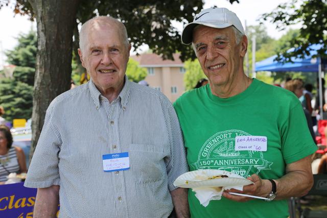 Former Greenport principal Bob Neidich ('56-'65) and Eric Aanestad ('60). (Credit: Joe Werkmeister)