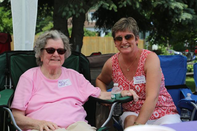 Betty 'Lynn' Davis ('51) and Joan Branche ('83). (Credit: Joe Werkmeister)