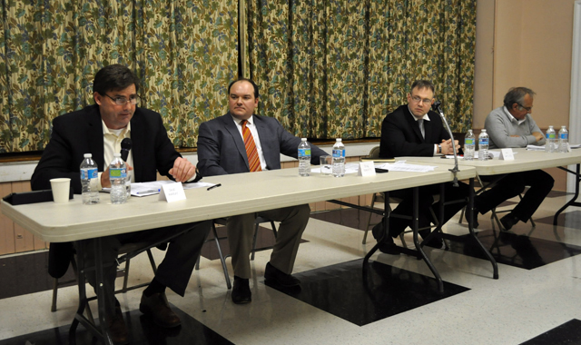 (L-R) Greenport Village Trustee candidates David Murray, Doug Roberts, jack Martilotta and William Swiskey during Tuesday night's debate. (Credit: Grant Parpan)