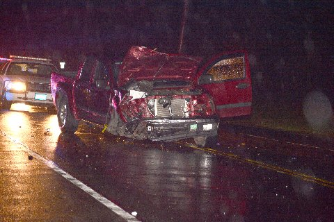 Mr. Costello's pickup truck following the Dec. 2014 fatal crash in Greenport. (Credit: AJ Ryan, Stringer News Service)