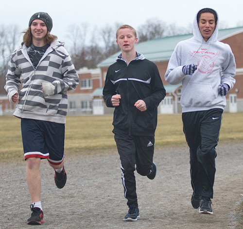 GARRET MEADE PHOTO | From left, three Greenport freshmen — Nick Wallace, Justin Bracken and Bayron Rivas — during Monday's practice.