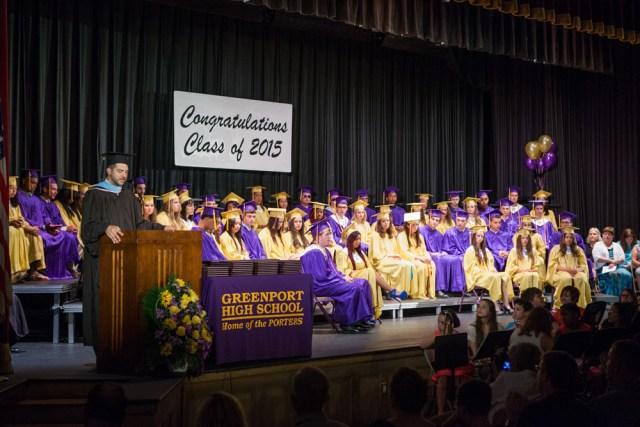 High School principal Gary Kalish speaks.