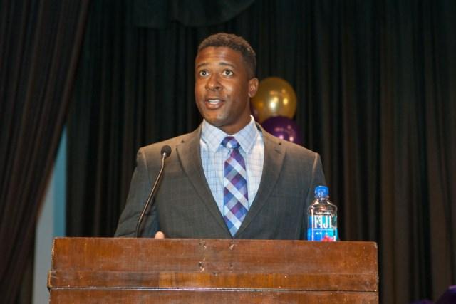 Commencement speaker Dr. Omar Armstrong. (Credit: Katharine Schroeder)
