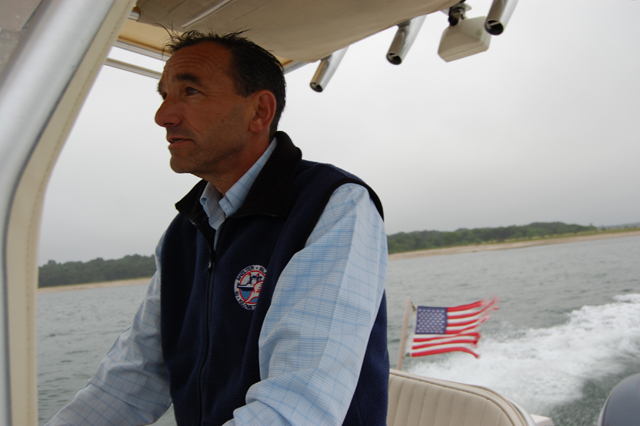 Dr. Frank Adipietro during a nautical commute. (Credit: Charity Robey)