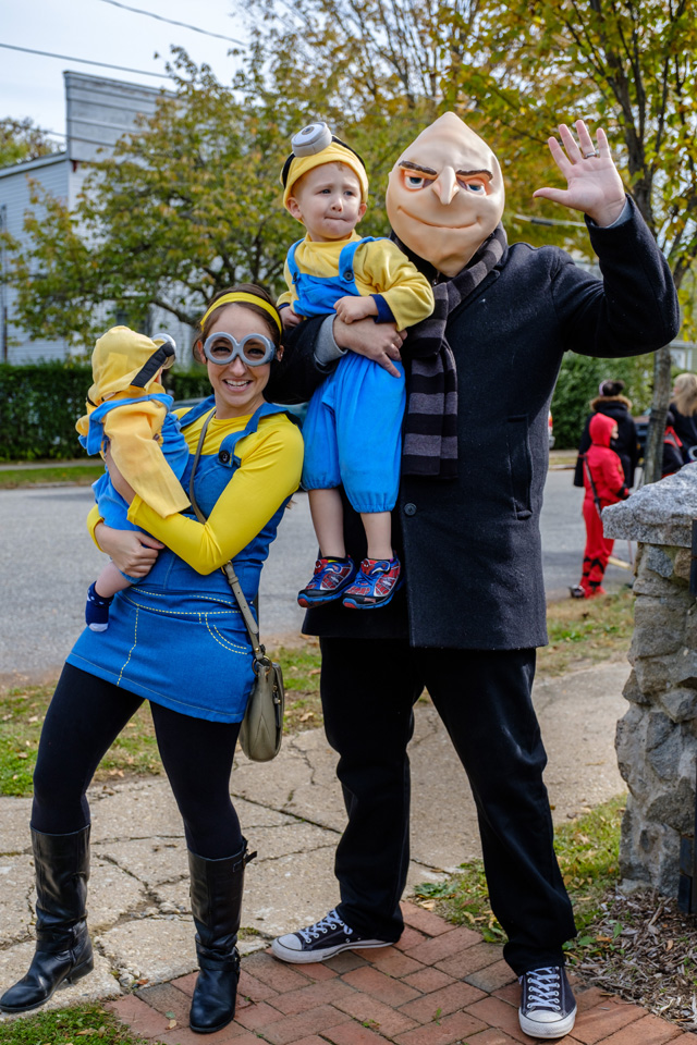 Times Review executive editor Grant Parpan as Gru with northforker editor Vera Chinese and their minions Jackson and Nora.
