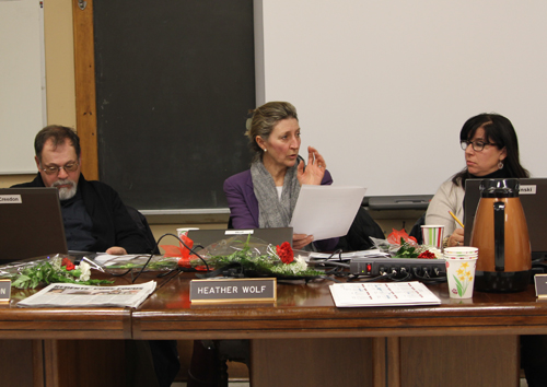 Greenport school boards member Heather Wolf, center, and Dan Creedon disagreed Monday over scheduling a June 25 special meeting. (Credit: Jennifer Gustavson, file)