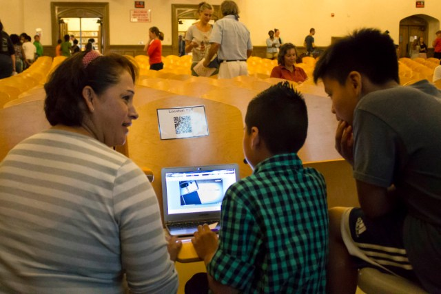 Greenport Elementary School's fifth-graders demonstrated Tuesday how their videos on local history are attached to QR codes. (Credit: Chris Lisinski)