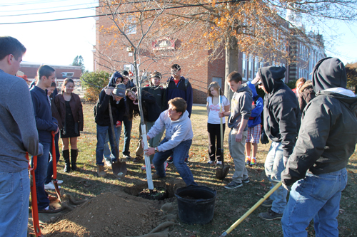 PAUL SQUIRE PHOTO | Southold students plant a redbud tree in honor of Ronan Guyer, the Southold teen who suffered a heart attack and died last year.